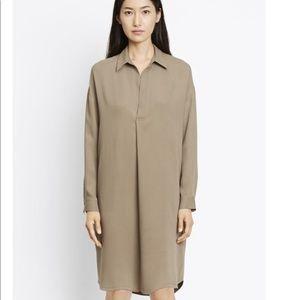 vince xs 100% silk grey shirt dress extra small